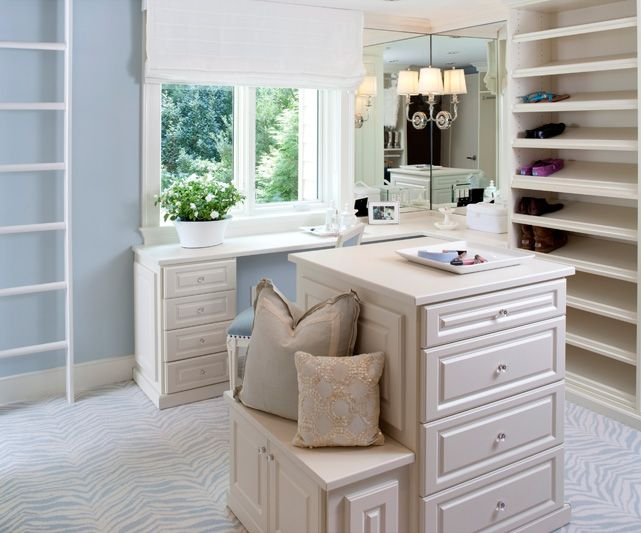 Kristin Peake Interiors: Blue Walk In Closet Design With Blue Paint Color  And White