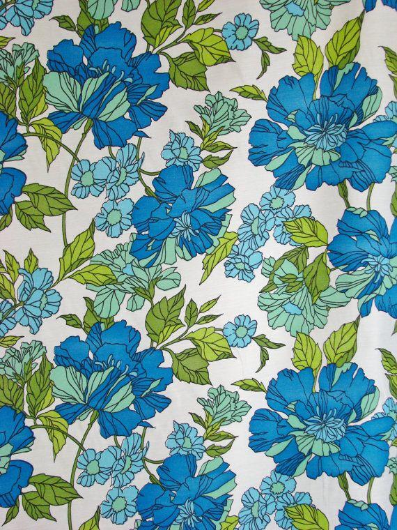 Reserved For Meg 5 5yds Vintage Fabric 1970s Sapphire Blue Light