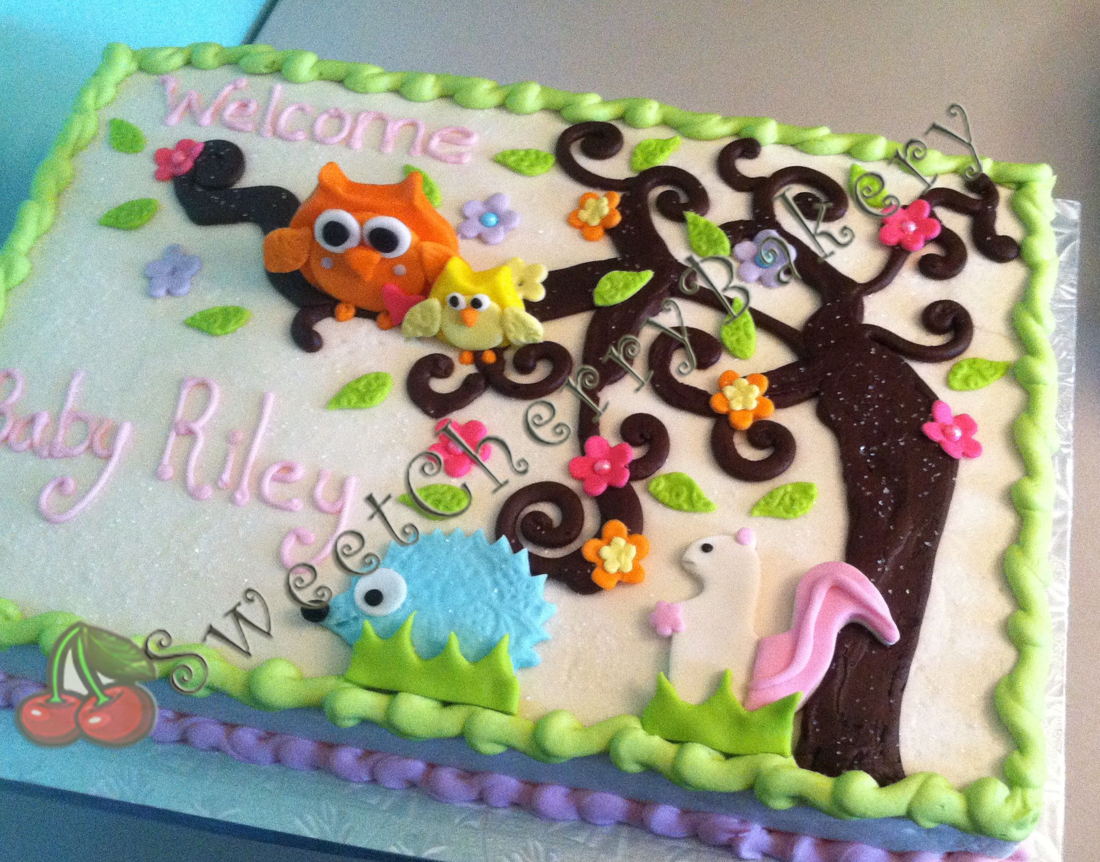 Baby Shower cake owls and squirrels Woodland animals cake in