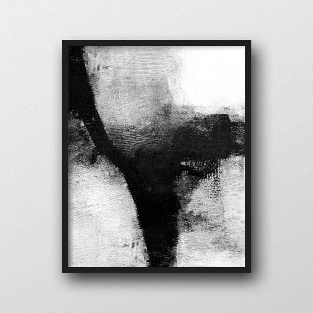 Black and white abstract painting framed giclee print scandinavian