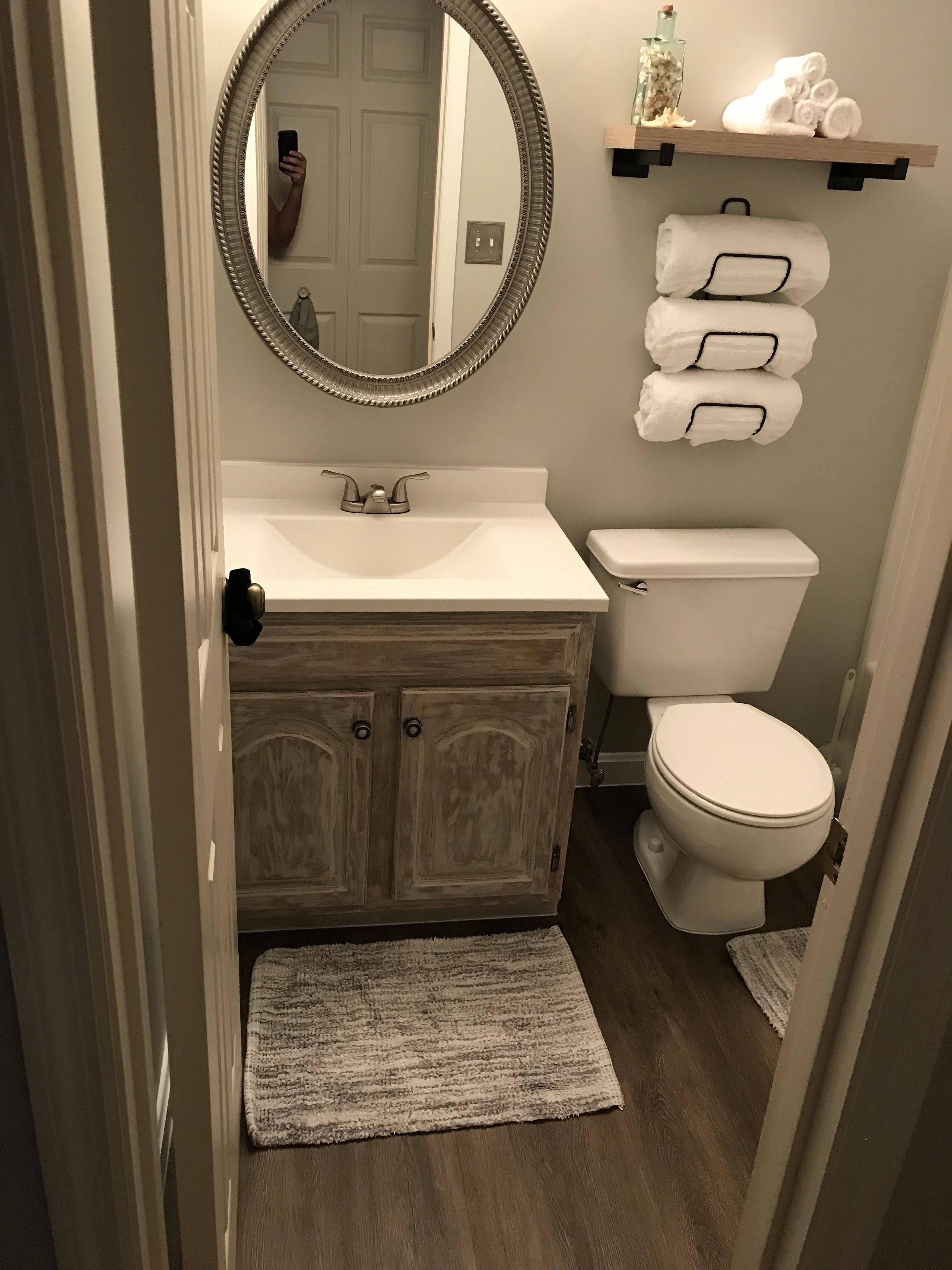 Bathroom Remodel Under 400 Old Oak Cabinet Refinished With Mud Paint And Sanded Sherwin William Small Bathroom Decor Office Bathroom Design Bathrooms Remodel