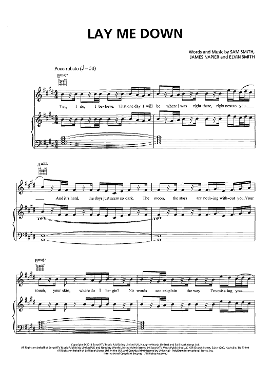 Lay Me Down | Pinterest | Sam smith, Sheet music and Pianos