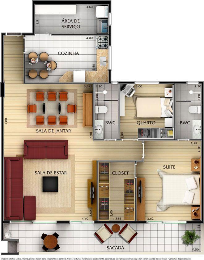 50 Plans en 3D du0027appartement avec 1 chambres Apartments, House and