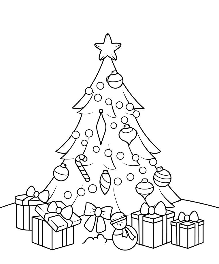 Albero Di Natale Con Regali Da Colorare.Albero Di Natale Con Addobbi Regali Natalizi Con Fiocchi Disegni Da Stampare Colori Di Natale Bambini Alberi Di Natale Disegno Per Bambini
