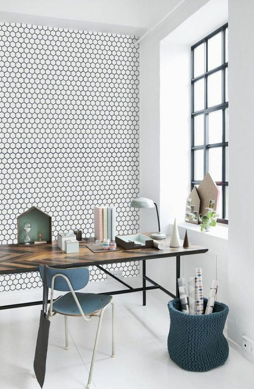 le papier peint noir et blanc est toujours un singe d 39 l gance salons and wallpaper. Black Bedroom Furniture Sets. Home Design Ideas