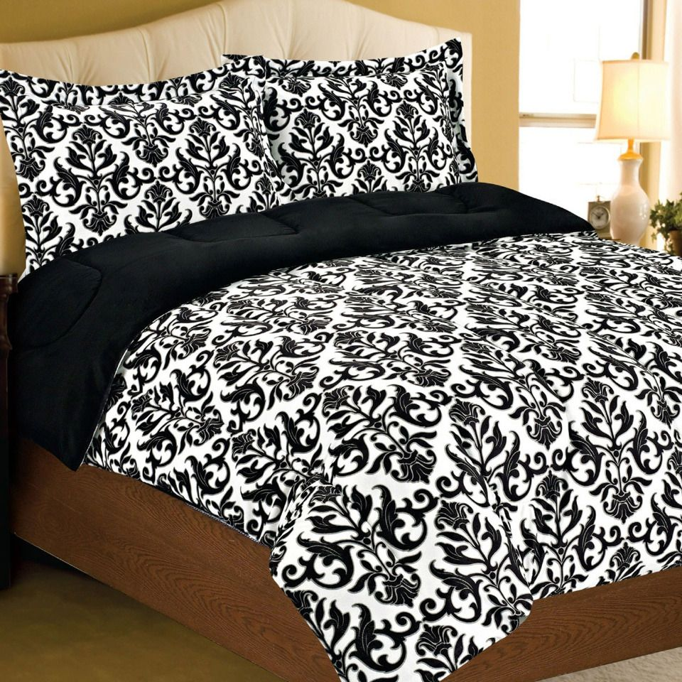 Black and white damask bedding queen - Damask Bedding In Black White W Lime Green Walls And Accents Black Curtains