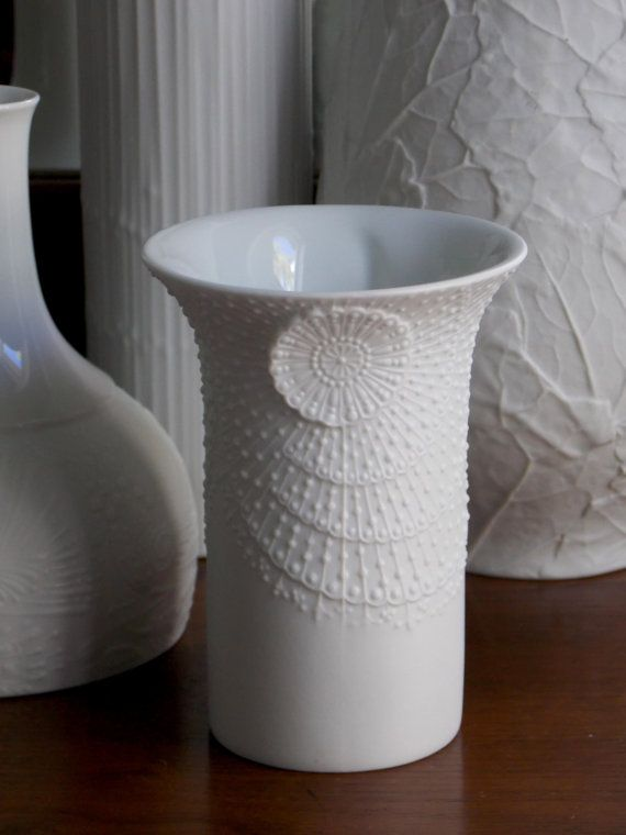 White Modern Vase Ak Kaiser M Frey Porcelain Vase West German Op Art