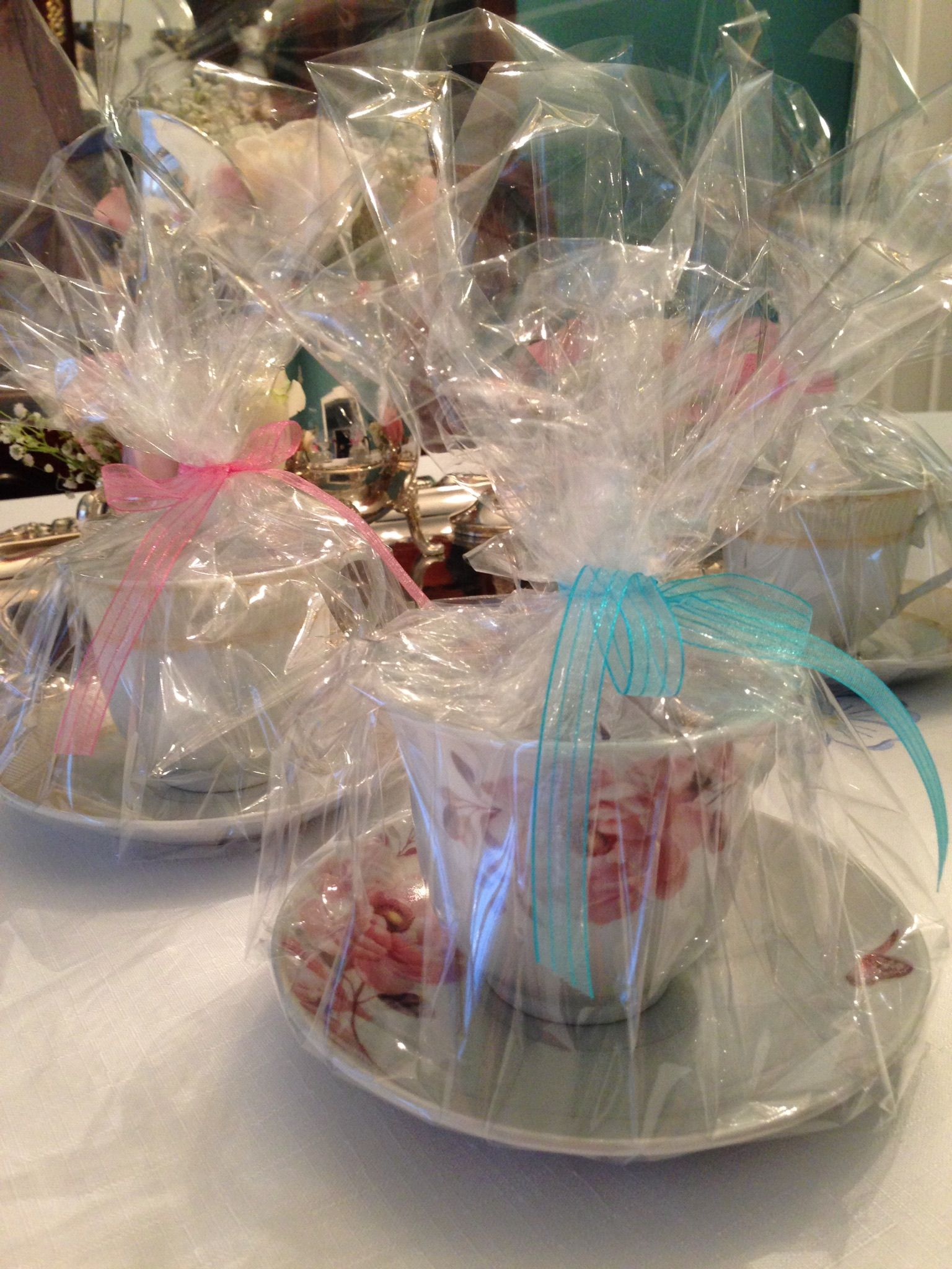 tea cup favors with macaroons wedding shower bridal tea