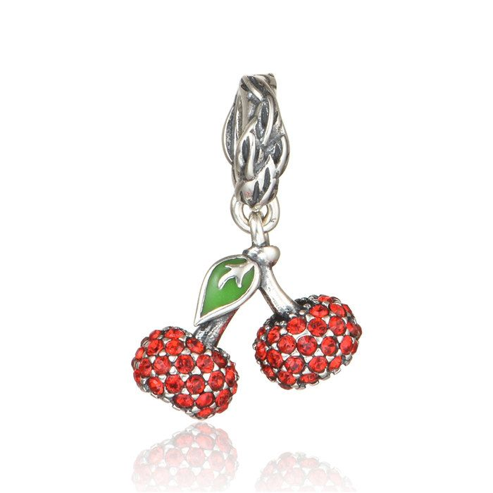 Authentic silver charm sterling silver charm beads fits pandora authentic silver charm sterling silver charm beads fits pandora charm and european charm bracelets red cherry sciox Images