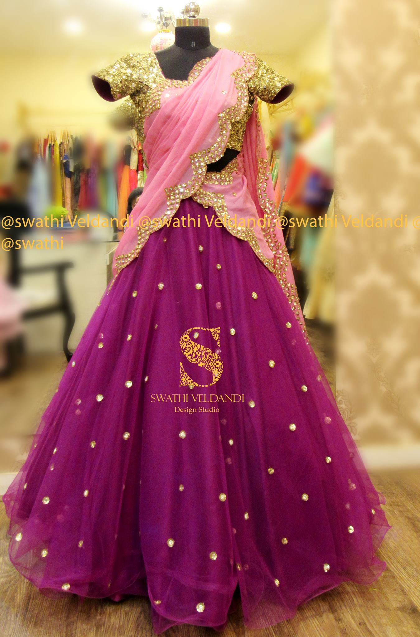8f3f334a6f Beautiful purple color net lehenga and gold sequence blouse with blush pink color  net dupatta. Lehenga and dupatta with hand embroidery mirror work.