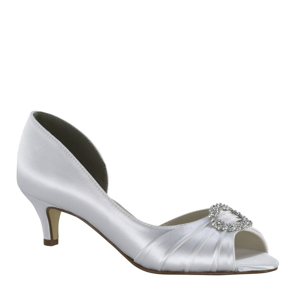 Kennedy Dyeable White Satin Rhinestone Prom Bridal Wedding Low Heel Formal Shoe