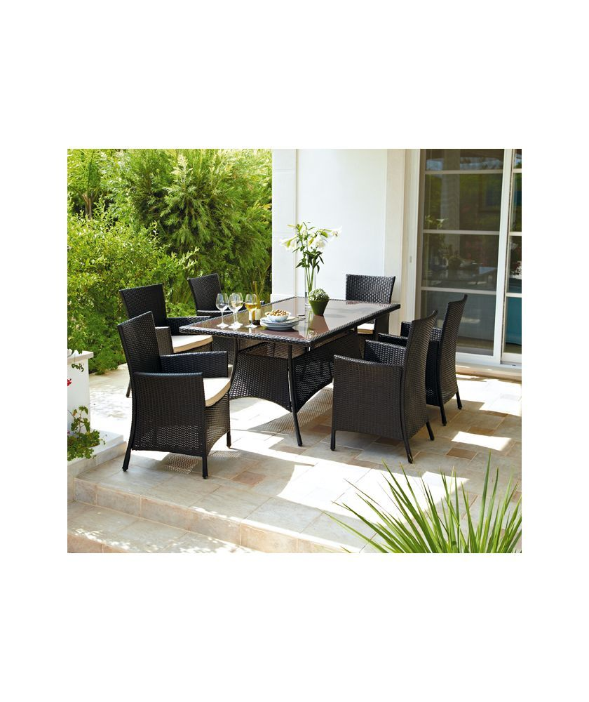Buy Bali 6 Seater Rattan Effect Patio Furniture Set Brown at