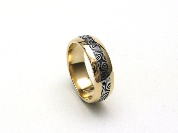 Stainless Steel Damascus Ring With 14K Gold Rails by JArthurLoose