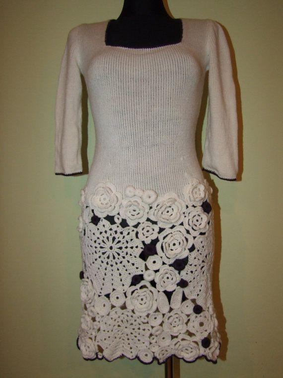 RE-fashion a sweater into a dress by adding freeform irish crochet {by LaimInga on Etsy}