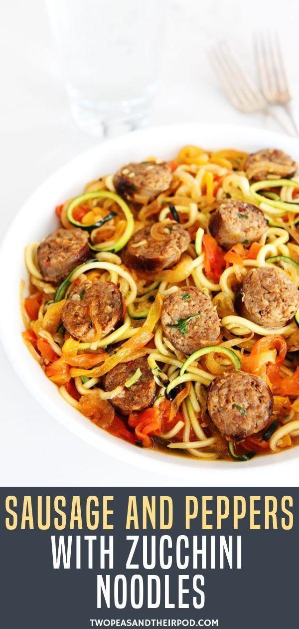 Süße pikante italienische Wurst mit Paprika, Zwiebeln und Zucchininudeln in ......   - Best Zucchini Ideen -
