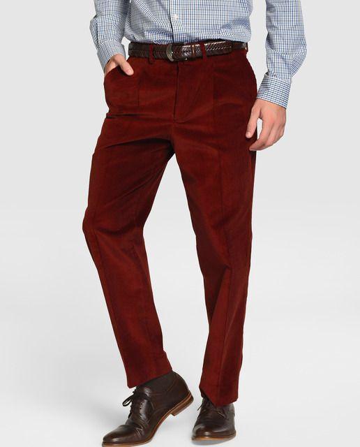 53ada6702f Pantalón de hombre Dustin de pana rojo Pantalones De Hombre