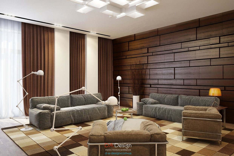 modern wooden texture  google search  interior design  - living room  brown leather armchair scheme furniture modern textured wood panelingwall covered ceiling chandelier design living room with wood wall