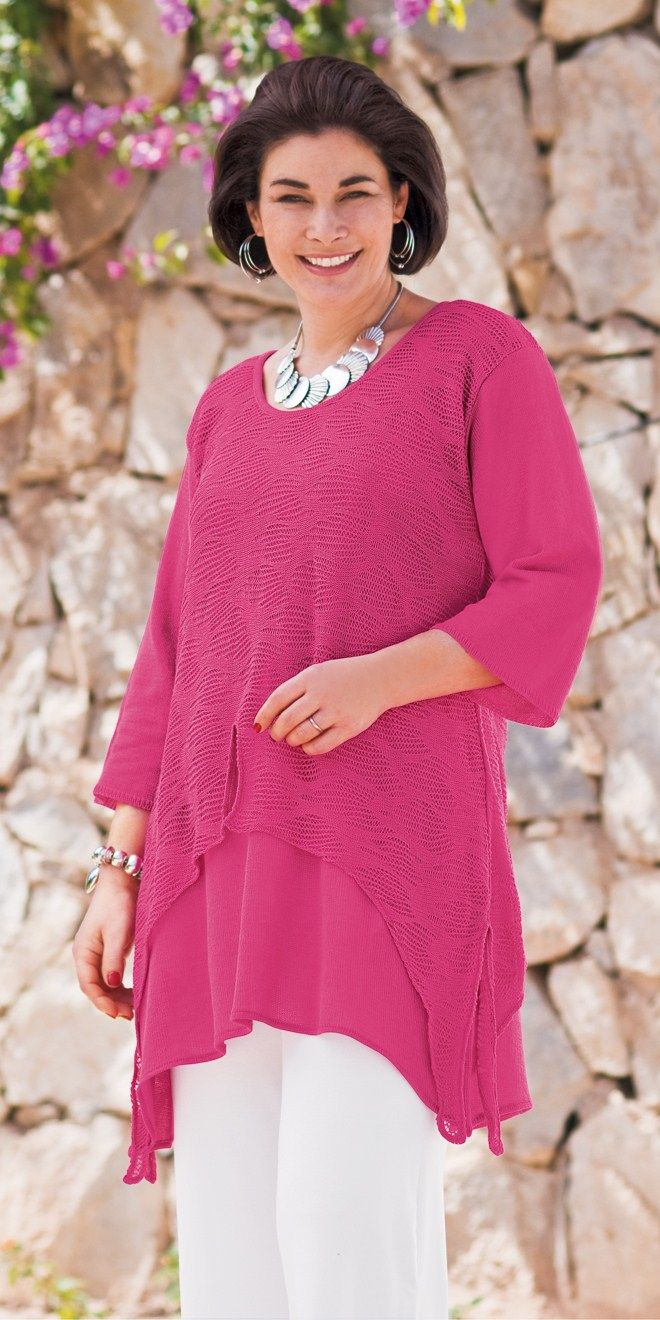 Lily Black Fuchsia Crochet Top And Crop Jersey Trouser Kleding