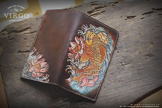 b87e3609f4c1 Koi Fish Leather Carving Wallet | Products | Leather carving ...