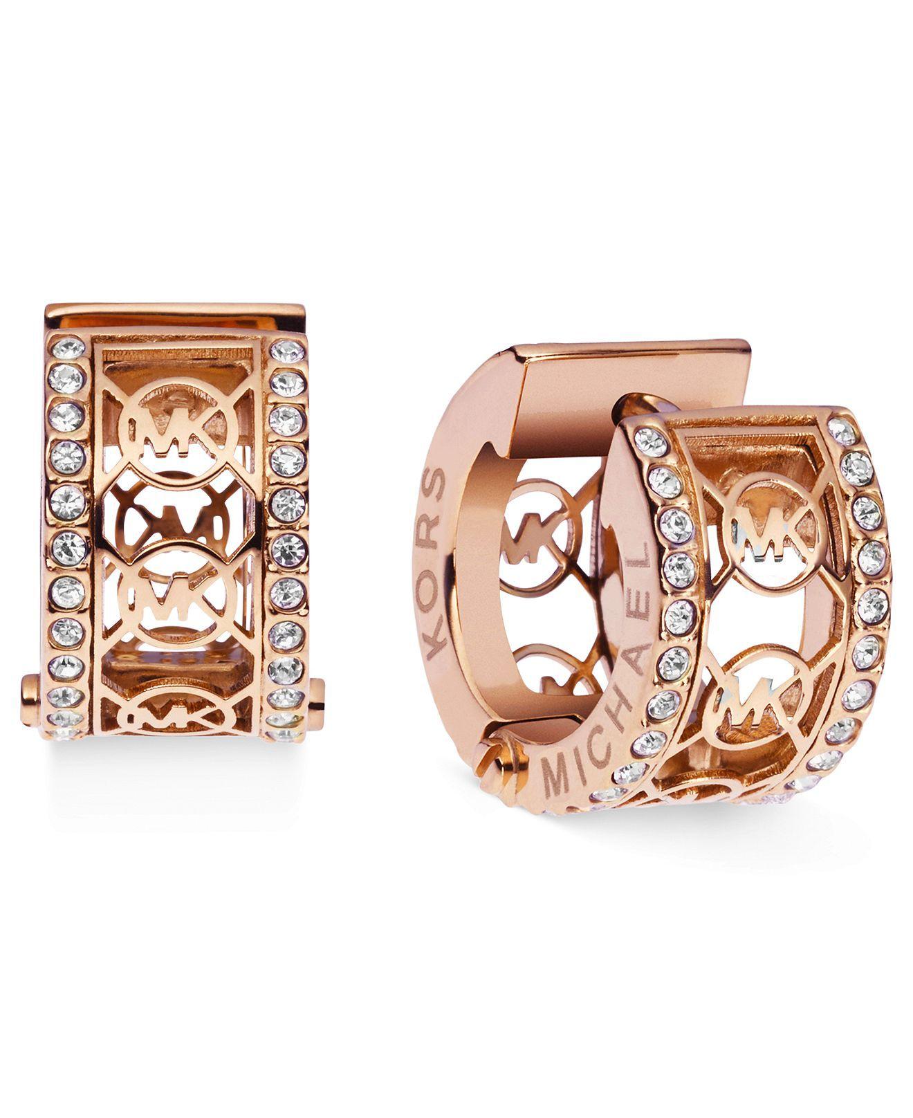 Michael Kors Earrings Rose GoldTone Pave Monogram Huggie Hoop