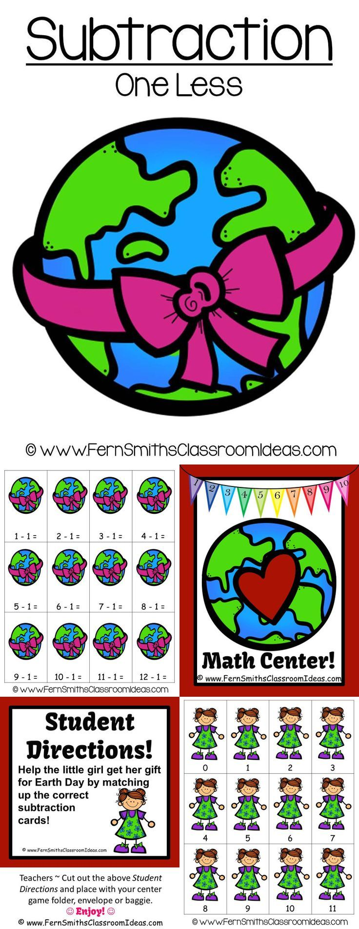 Earth Day Math A Quick and Easy to Prep Subtract One Less