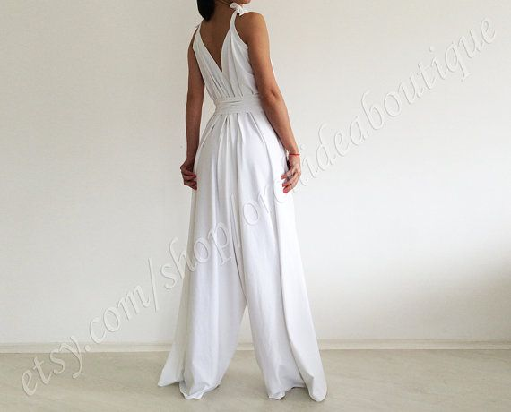 2d98d843985e White jumpsuit  Wide leg jumpsuit  Loose jumpsuit  Wedding pantsuit ...