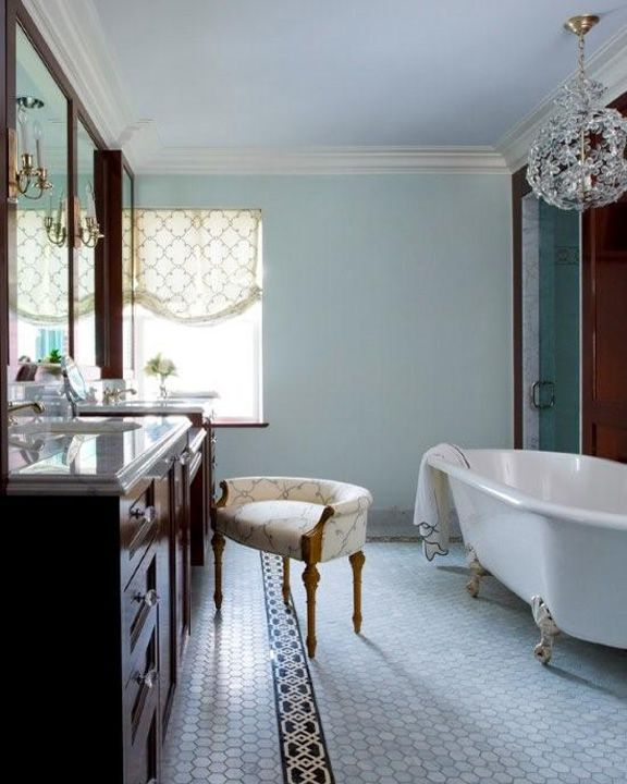master bath with clawfoot tub and hexagon floors -- 1920s-esque and ...