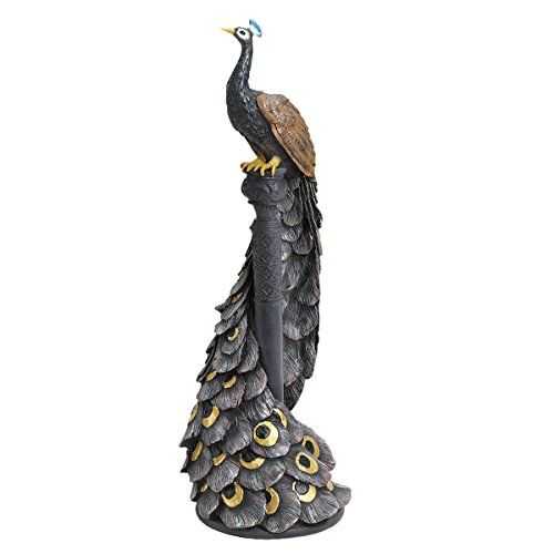Cast in Aluminium with an Aged Bronze Finish Pair of Peacocks Garden Statues