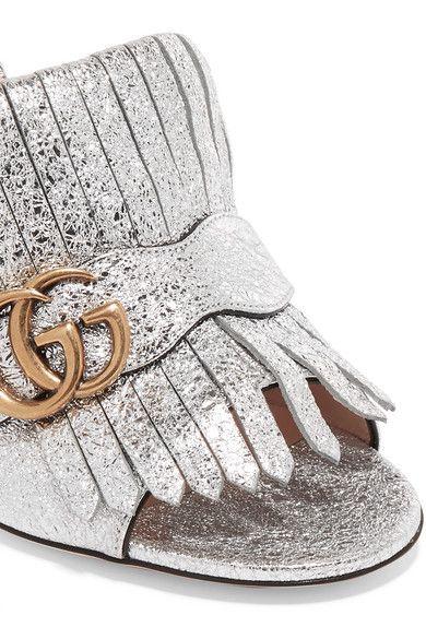 e2698e7c0ec Gucci - Marmont Fringed Logo-embellished Metallic Cracked-leather ...