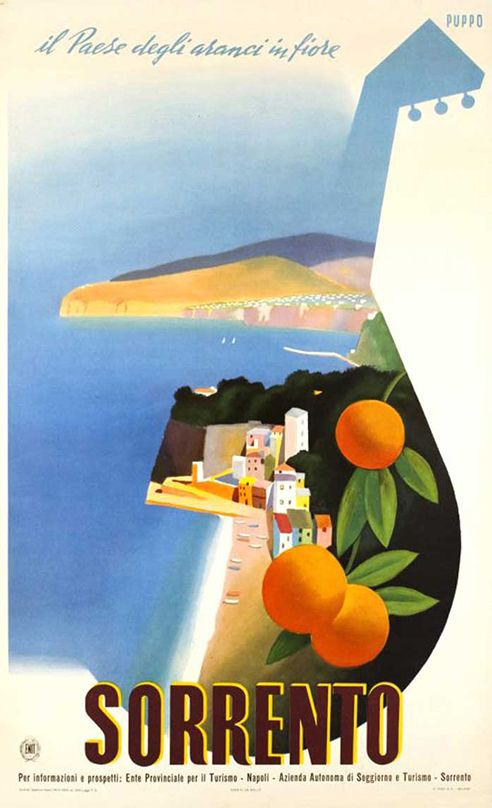 Italy lemons Vintage old Travel Poster Print  Framed Canvas painting