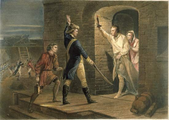 Ethan Allen, with drawn sword, capturing Fort Ticonderoga on May ...