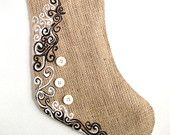 Tattoo Stocking- Unique Hand Painted Burlap Stocking, Modern Christmas Stocking, Embellished Stocking, Special One-of-a-kind Holiday Decor