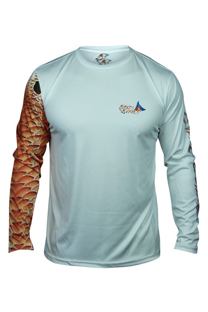 Redfish long sleeve scale armour cool shirt boating for Under armour long sleeve fishing shirt