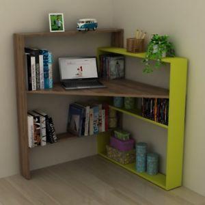 Libreria Ad Angolo Con Scrivania.Dettagli Su Geometry Scrivania Ad Angolo Con Mensole Scaffali
