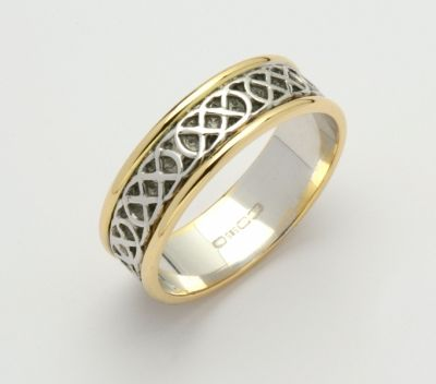 3d5a57f0be6 Celtic Wedding Band. 2 tone 14k. The unending celtic knot stands for  eternity and never-ending love. Available in Lady sizes 5 - 8.5 and Gent  sizes 9 - 12.5