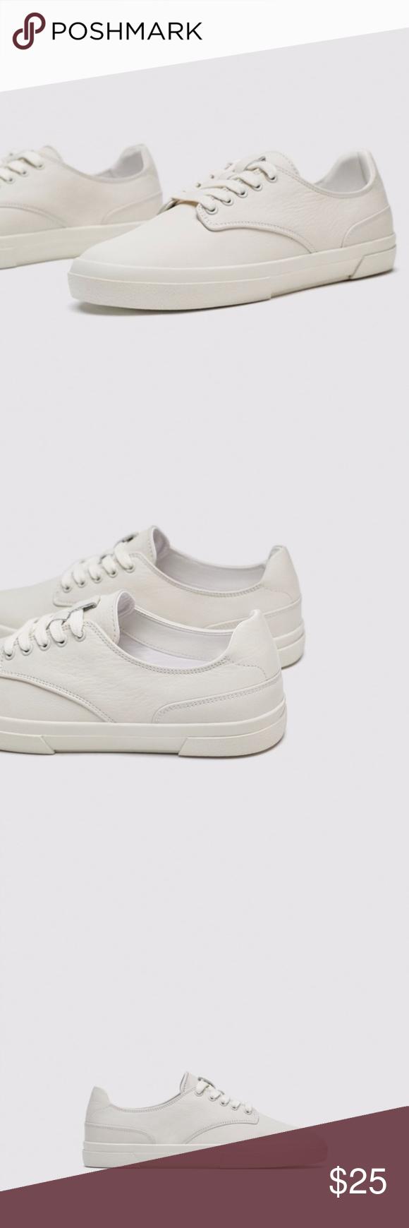 Zara White Leather Sneakers Off White Tennis Shoes Boutique White Leather Sneakers White Tennis Shoes Leather Sneakers