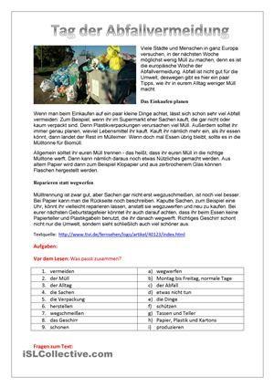 Tag der Müllvermeidung | Deutsch lernen | Pinterest | Learn german