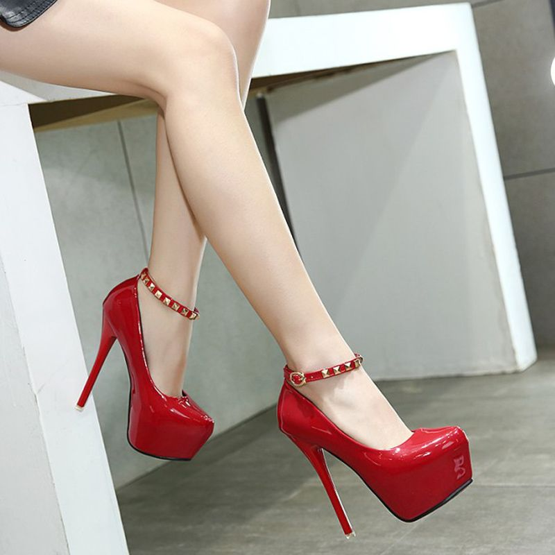 1329c23190d Click to Buy    womens pump shoes party platform heels red pumps black  ankle strap heels rivets pumps wedding shoes women heels size 34 X345   Affiliate