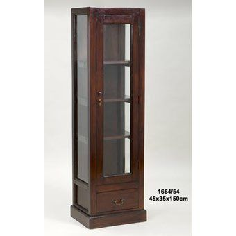 Vitrina cuadrada alta en madera y vidrio para reposteria - Vitrinas de madera y vidrio ...