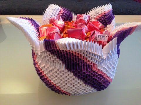 3d origami korb wir basteln aus papier zusammen mit fererro youtube askartelu pinterest. Black Bedroom Furniture Sets. Home Design Ideas
