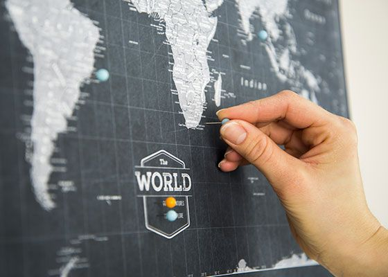 World travel map pin board wpush pins modern slate mapas world travel map pin board wpush pins modern slate gumiabroncs Choice Image