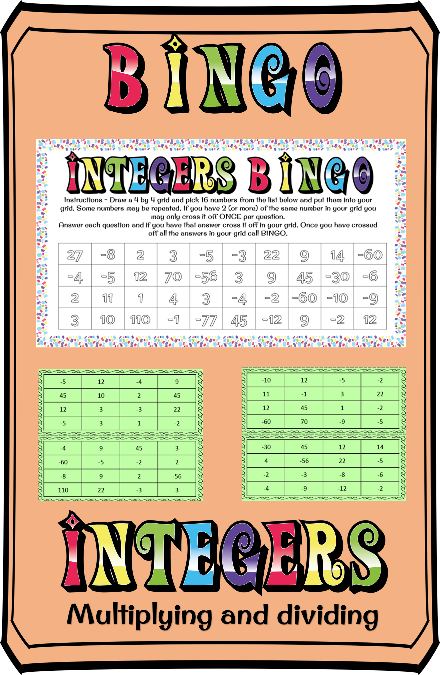 Multiplying And Dividing Integers Bingo