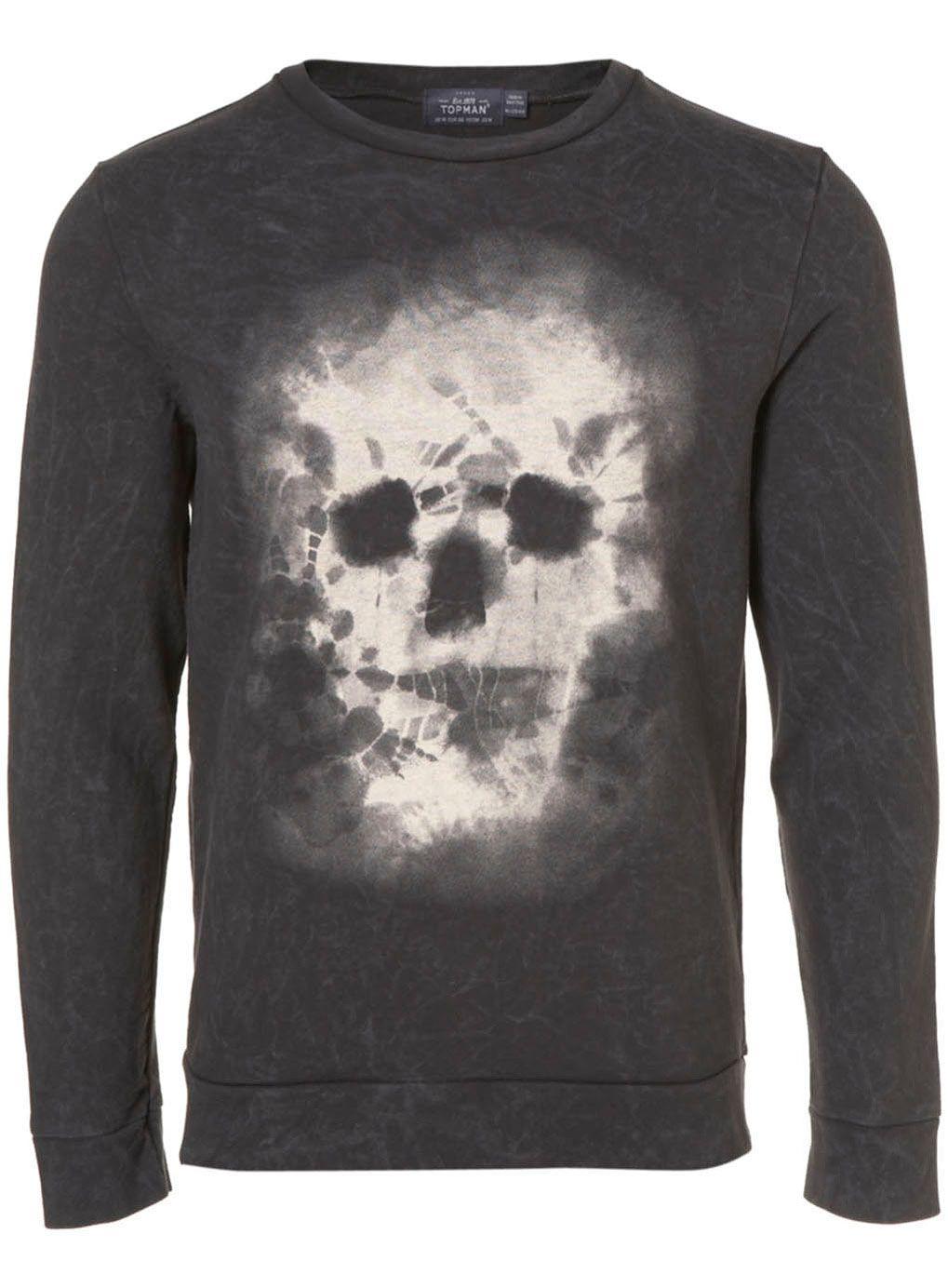 Black Snow Washed Tie Dye Skull Printed Sweatshirt - Sale Tops - TOPMAN USA