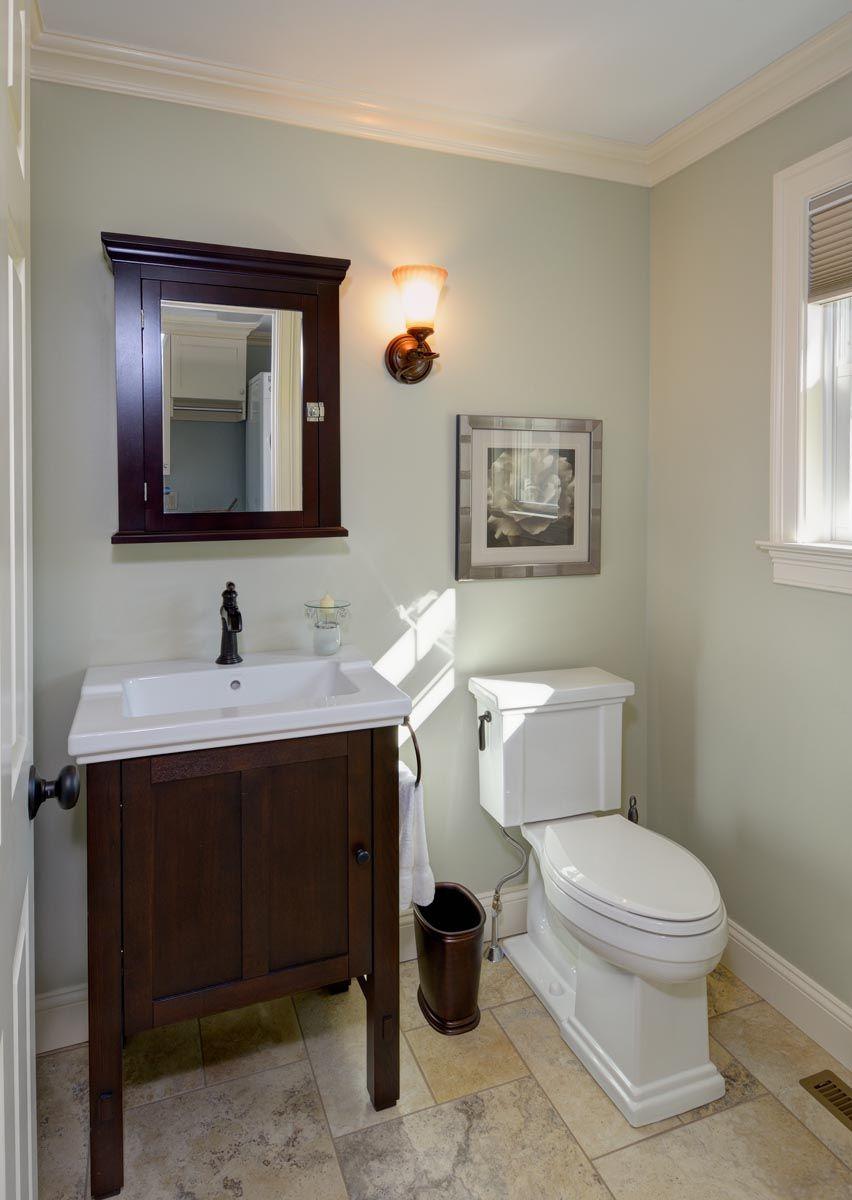 Traditional Half Bath Remodel With Dark Wood Sink And Medicine Cabinet Half  Bathroom Remodel   Taylor Bryan Co