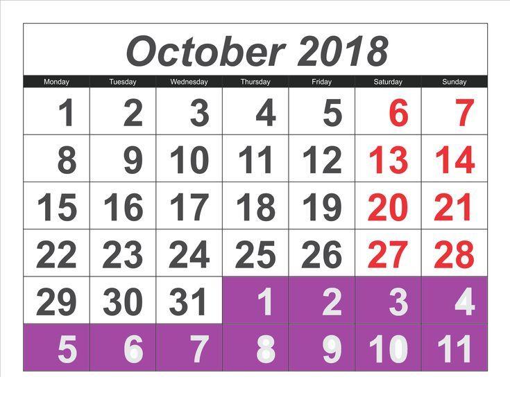 Oktober 2018 Kalender mit Feiertagen # Oktober2018Kalender