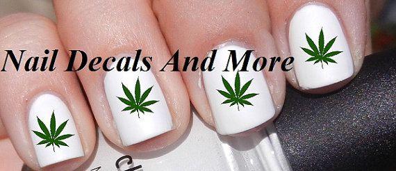 50+ pc of Pot Marijuana Leaf Nail Art Nail Weed Decal Nail decals Stickers JH 90