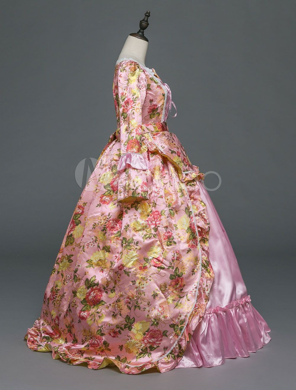 Vintage Costume Halloween Women Rococo Pink Victorian Masquerade Ball Gowns Royal Long Sleeve Retro Co Masquerade Ball Gowns Halloween Women Masquerade Dresses [ 1316 x 1000 Pixel ]