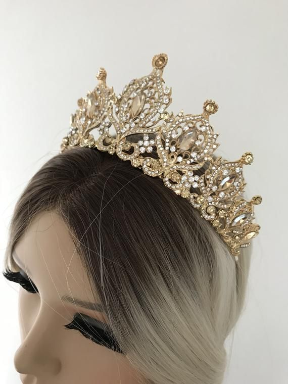 Gold crystal wedding tiara, crown tiara, bridal tiara, crystal wedding tiara, crystal crown tiara, bridal crown, bridal crystal crown #crowntiara
