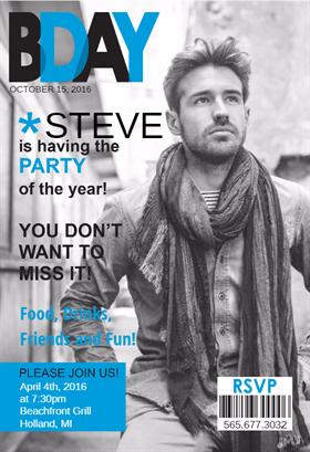 Mens Party Magazine Cover Birthday Invitation Template Free Greetings Island Birthday Invitation Templates Invitations Magazine Cover