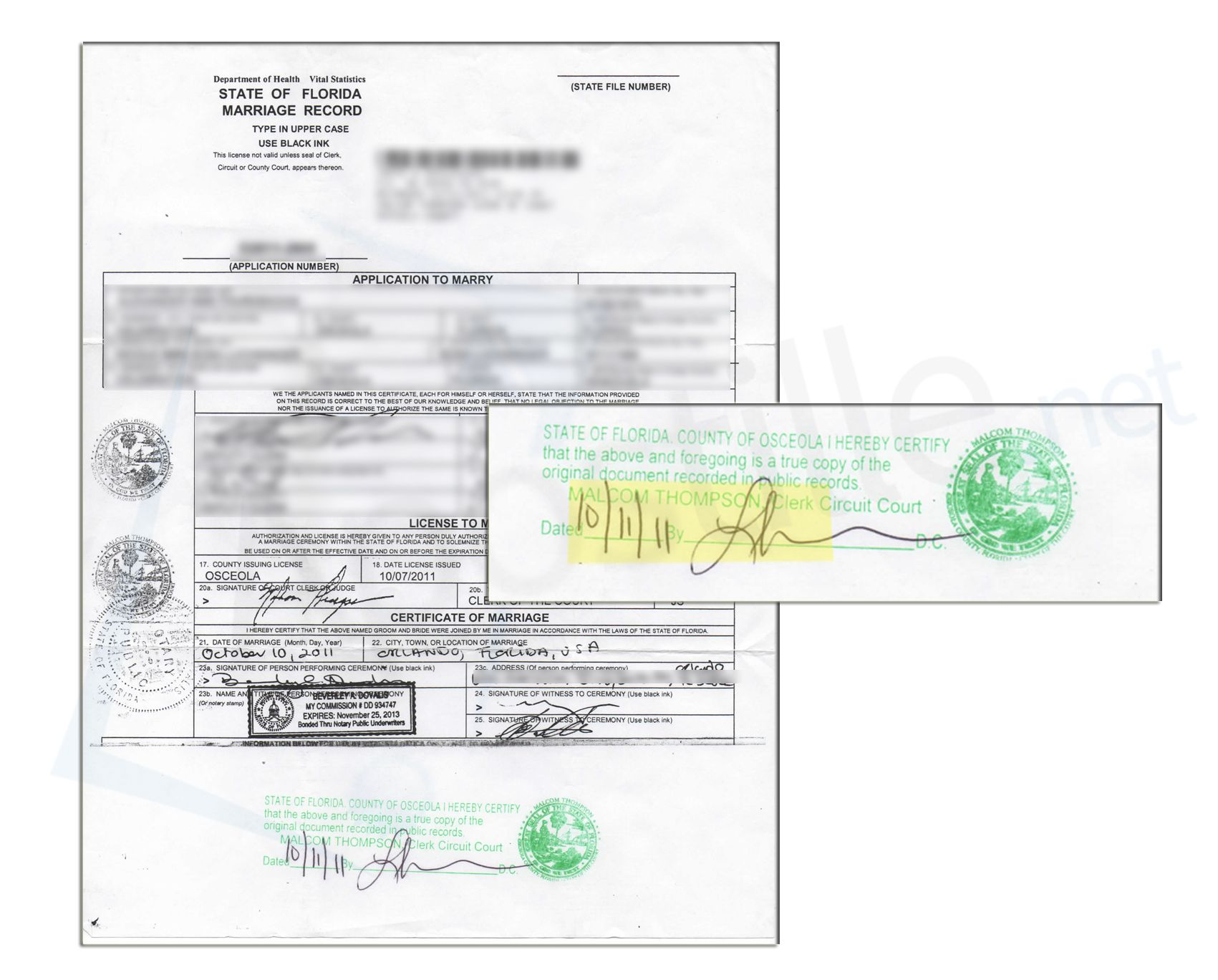 osceola county clerks office death certificates